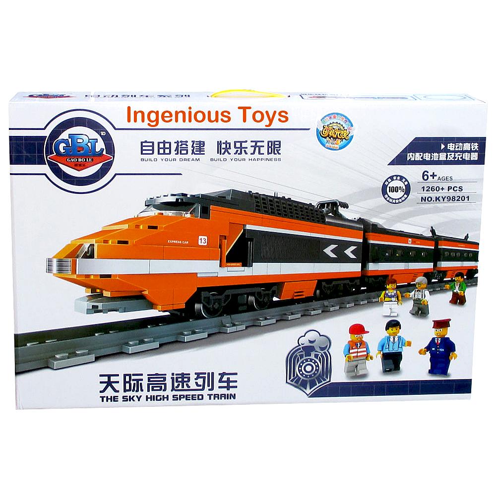 《High Speed Train》燈光音效創意DIY積木組裝火車軌道套組 1260pcs