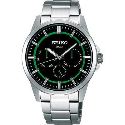 SEIKO Spirit 風行者太陽能全日曆腕錶(SBPV905J)-綠/銀/39mm