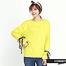 H:CONNECT 韓國品牌 女裝 - 寬袖綁絲帶大學T - 黃色