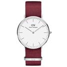 DW DanielWellington 經典風尚手錶-白X銀框X紅帶/40mm