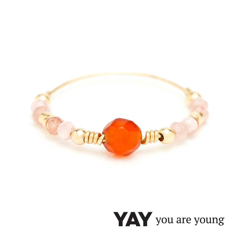 YAY You Are Young 法國品牌 Cleo 玫瑰粉玉石戒指 雙色款 金色