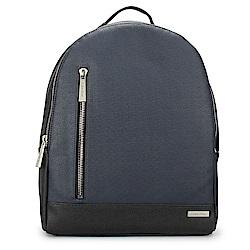 Calvin Klein 經典撞色防刮皮革後背包-黑/海軍藍