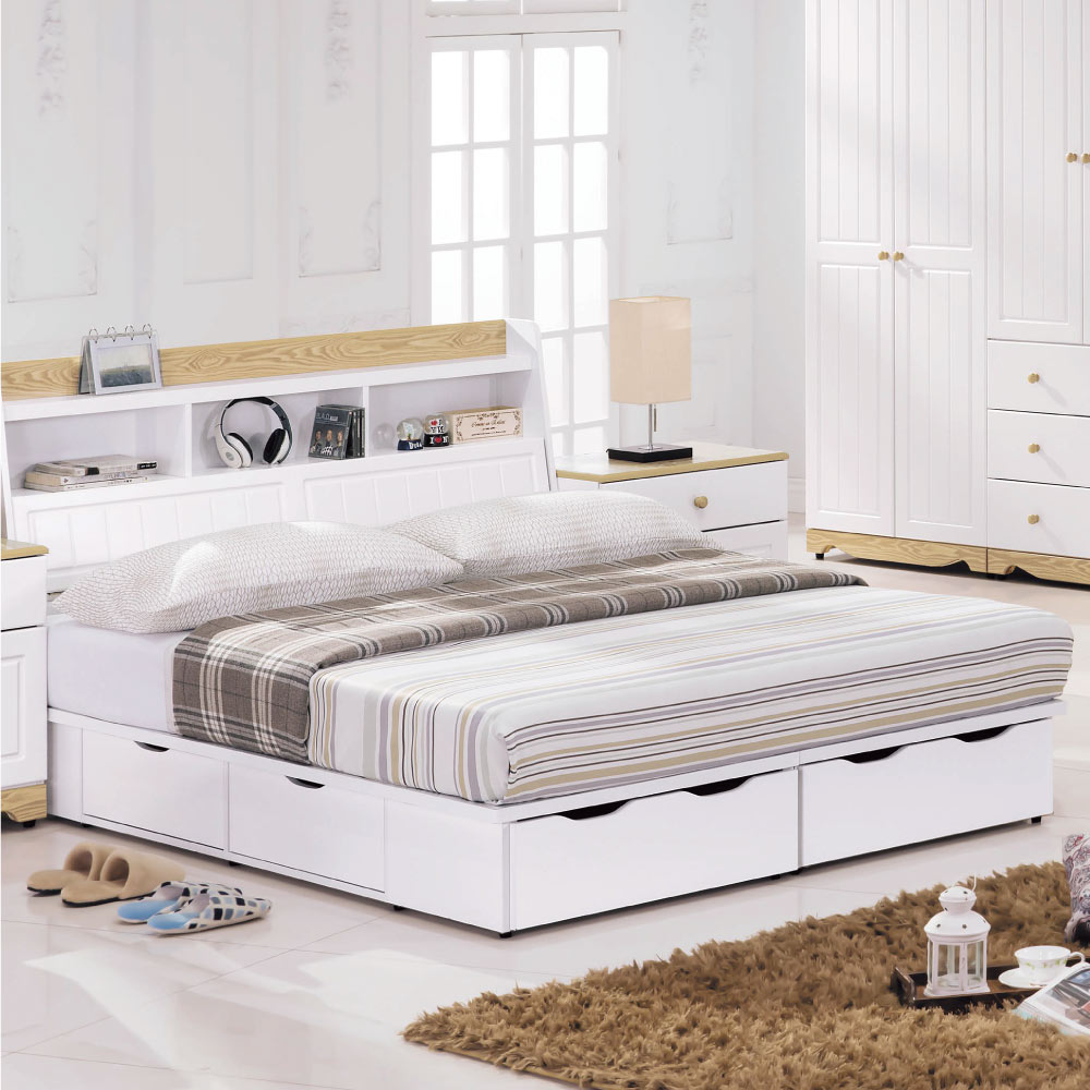 品家居 莫凡比5尺雙色雙人收納床台(不含床墊)-151.5x211x102cm免組