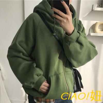 學院風寬鬆長袖連帽外套 (共三色)-CIAO妞
