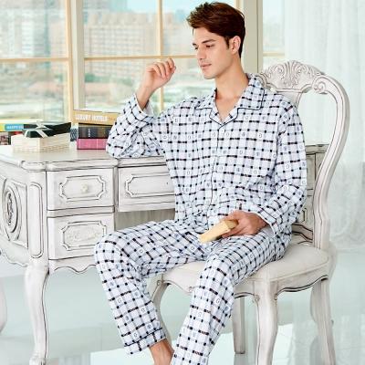 睡衣 精梳棉柔針織 男性長袖兩件式睡衣(68230)藍白格紋 蕾妮塔塔