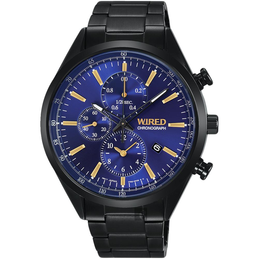 WIRED 關鍵時刻三眼計時腕錶(AY8018X1)-藍x鍍黑/41mm