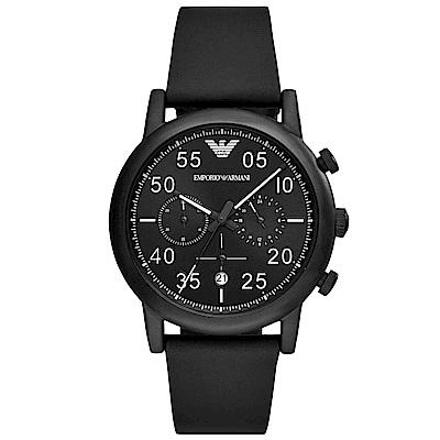 Emporio Armani 品味三眼計時真皮手錶(AR11133)-黑/43mm