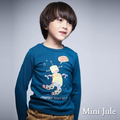 Mini Jule 童裝-上衣 跳躍機器人印花棉質長袖T恤(藍)