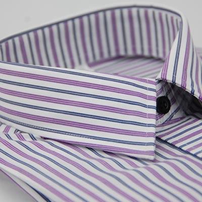 【金安德森】白底粉紫藍條紋變化門襟窄版長袖襯衫
