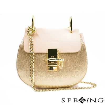 SPRING-法式香榭荔枝紋真皮鍊包-金粉拚色