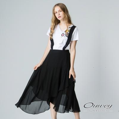 OUWEY歐薇 優雅荷邊斜衩吊帶長裙(黑)