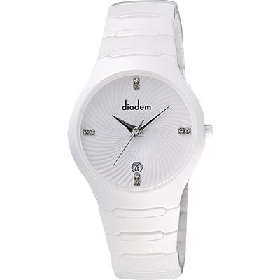 Diadem 黛亞登 雅緻晶鑽白陶瓷腕錶-銀/36mm