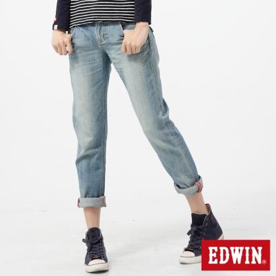 EDWIN俏皮男孩MISS BT袋蓋B.F牛仔褲-女款-重漂藍
