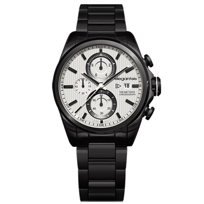 elegantsis Fashion 領先風範三眼計時腕錶-米xIP黑/46mm