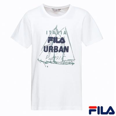 FILA男圓領T恤-米白1TER-1701-IV