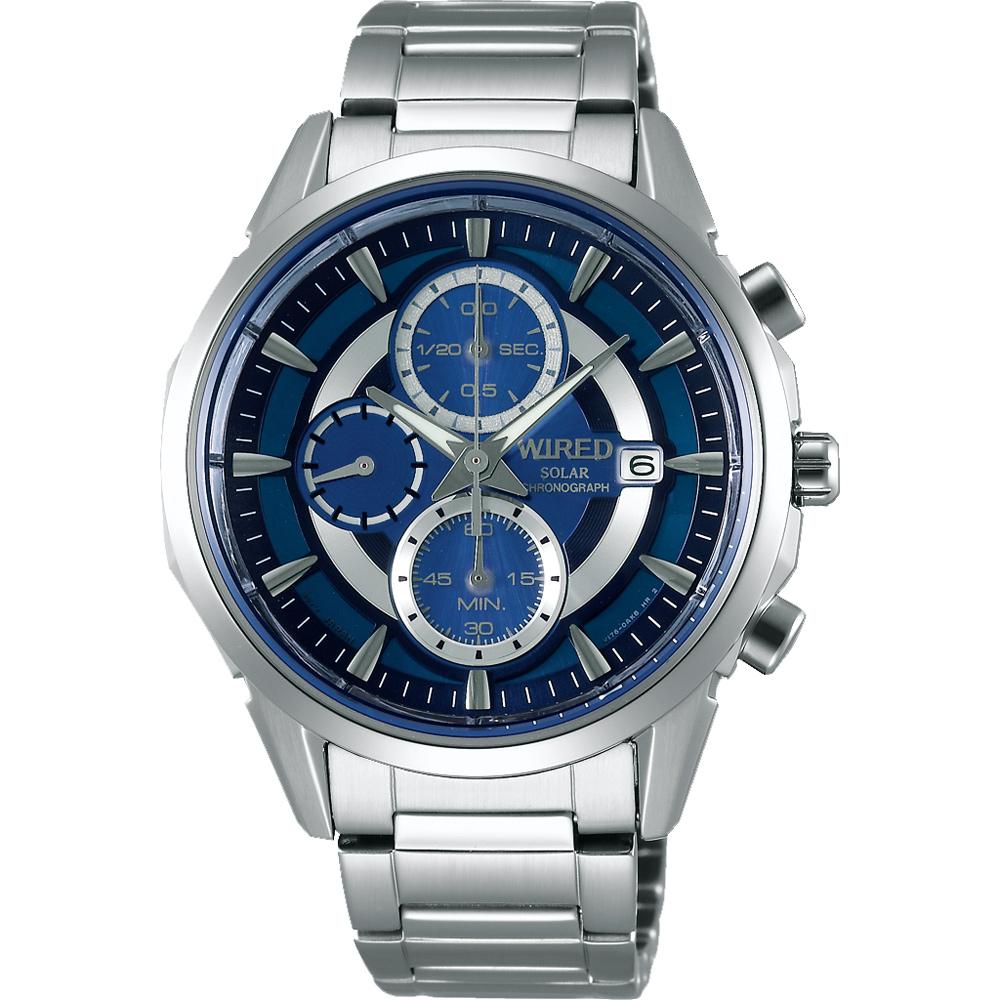 WIRED SOLAR 潮流玩家太陽能計時腕錶(AY9001X1)-藍/42mm