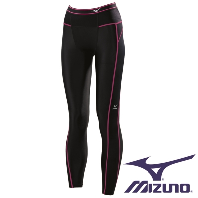 Mizuno BG 3000R 女全長緊身褲 A76BP-37094 (黑x粉紅)