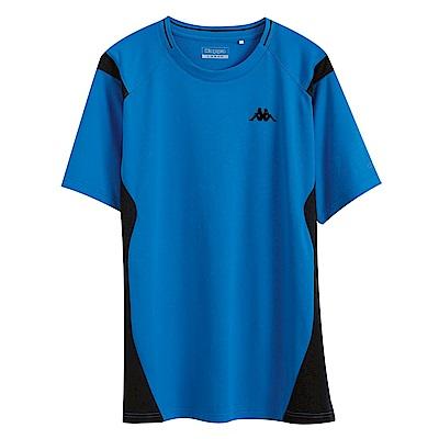 KAPPA義大利 時尚舒適型男KOOL DRY吸濕排汗衫珊瑚藍 黑 黑