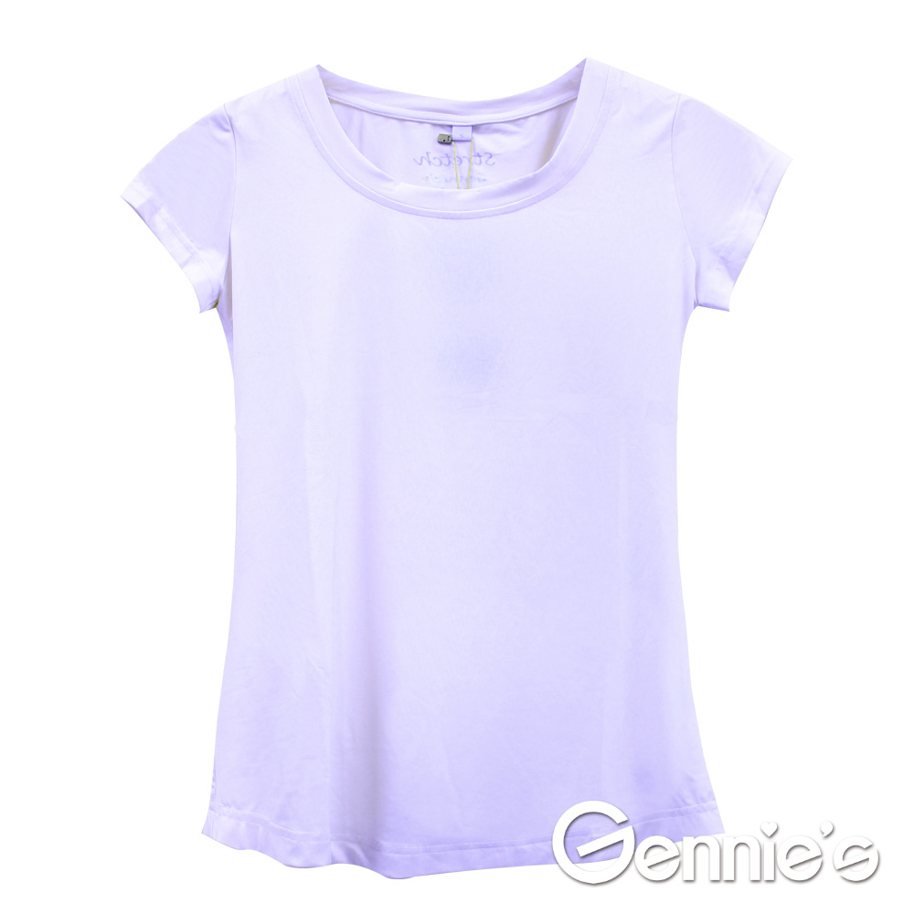 Gennie's奇妮-小圓領舒爽涼感紗春夏孕婦上衣 (G3702)-紫