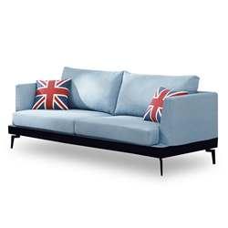 時尚屋 柏頓三人座藍色布套沙發