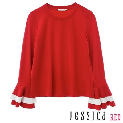 JESSICA RED-氣質優雅素色荷葉邊袖口上衣(紅)