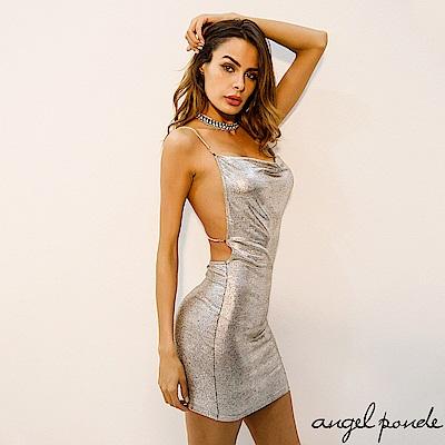 閃亮燙銀鍊條吊帶露背包臀洋裝平口低胸小禮服-天使波堤