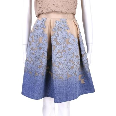 ALBERTA FERRETTI 膚x藍色單寧漸層雕花拼接及膝裙