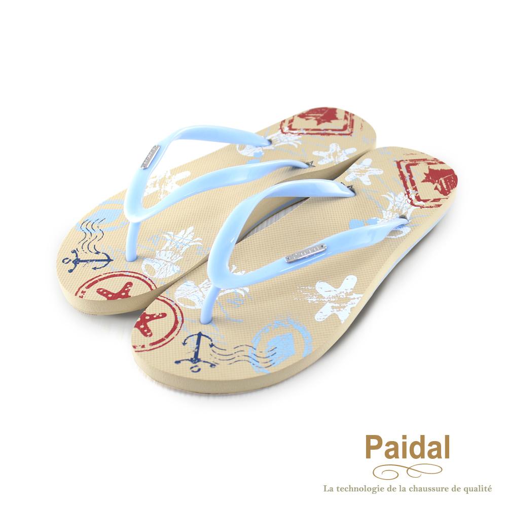 Paidal 海洋風船錨塗鴉人字拖海灘拖鞋-藍
