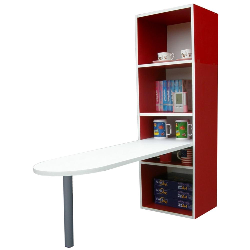 【KIC】桌面45公分(高)120公分(長)[3+2格](蛋頭形)桌櫃型-餐桌(紅白色)