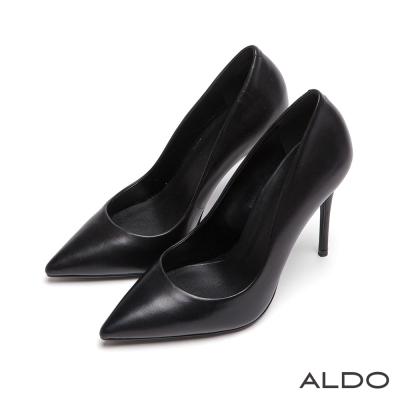 ALDO-黑色魅力原色煙燻亮面細尖頭高跟鞋-尊爵黑色