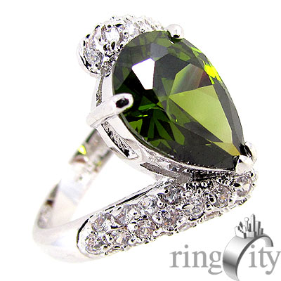 RingCity 祖母綠晶鑽色水滴造型戒