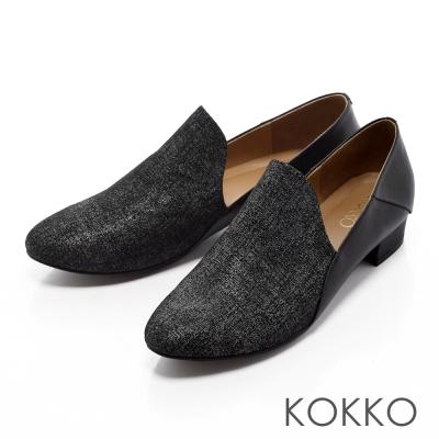 KOKKO-都會雅痞側V真皮樂福休閒鞋-黑