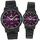 SIGMA 簡約藍寶石鏡面時尚男女對錶-紫X黑/30/39mm