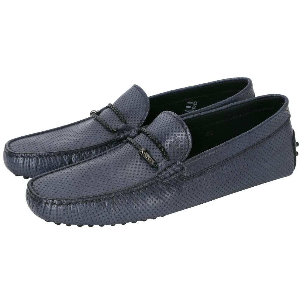 TOD'S Gommino 打洞牛皮編織皮繩裝飾豆豆休閒鞋(男鞋/藍色)