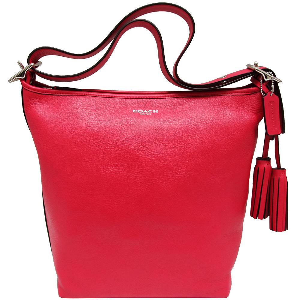 COACH Legacy全真皮肩背/斜背兩用水桶包-鮮紅色