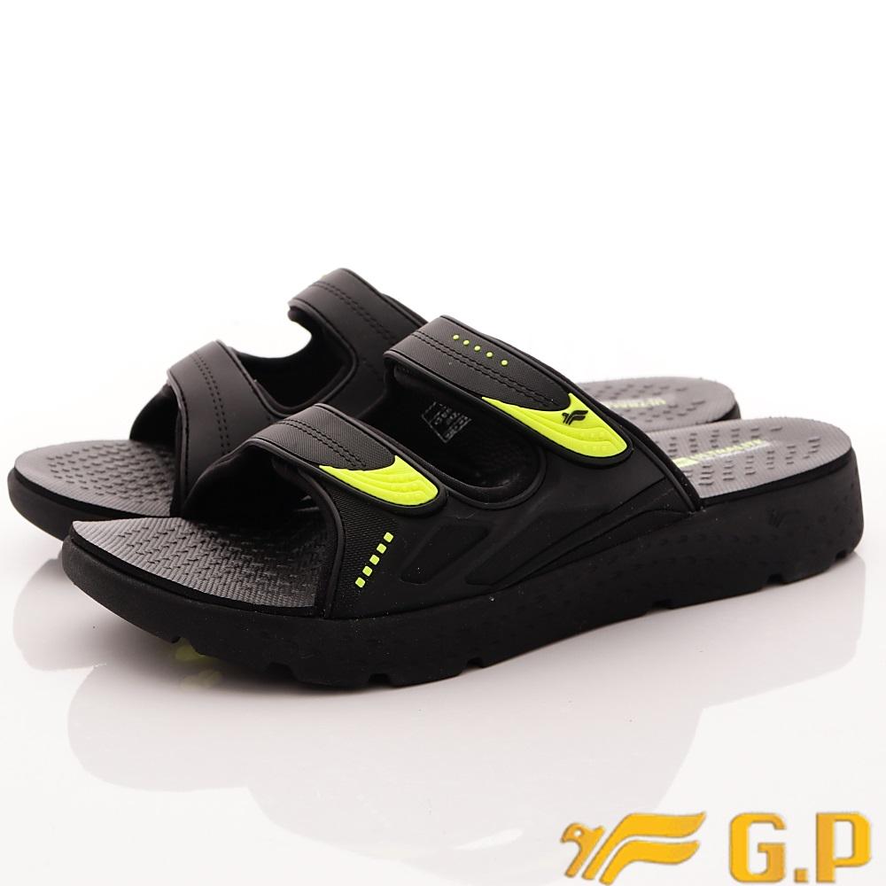 GP時尚涼拖-輕量防滑厚底拖鞋 EI591M-60黑綠(男段)