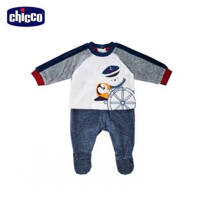 chicco企鵝白熊印花剪毛絨長袖套裝-青(3個月-12個月)