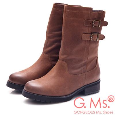 G.Ms. 牛皮雙平行皮帶釦中筒工程靴-咖啡