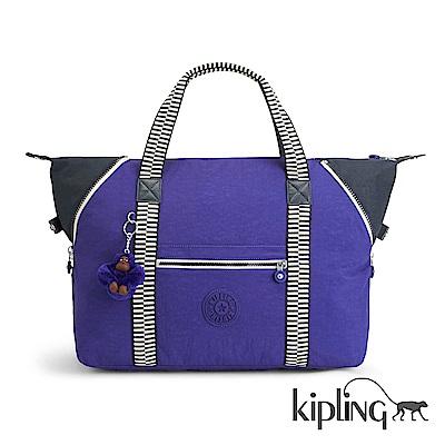 Kipling 手提包 摩登紫拼接-中