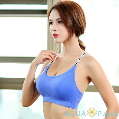 運動內衣 字母肩帶抽褶設計內衣 (藍色)-AQUA Peach