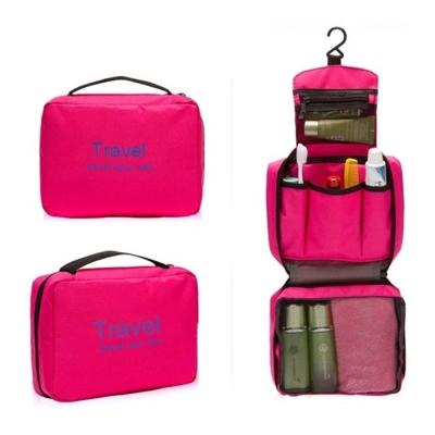 DF Queenin - 韓版出遊旅行專用盥洗包化妝包-玫紅