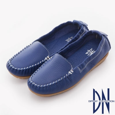 DN 舒適柔軟 全真皮手工縫線莫卡辛豆豆鞋-藍