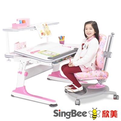 SingBee欣美 益學L桌椅組合+加大上層書架-105x75x75cm