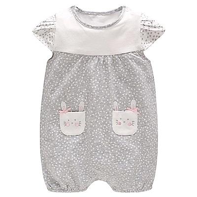Baby unicorn 灰白小兔口袋短袖連身衣