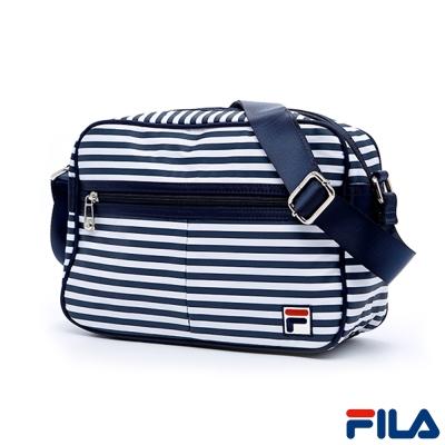 FILA活力嬉遊肩側斜背包-條紋-BMQ-1103-WT