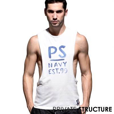 P.S 文字塗鴉雙側邊大開口運動背心(白色),Private Structure