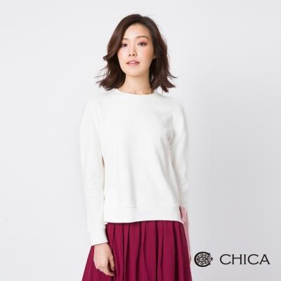 CHICA 青春之歌側綁蝴蝶結長袖純色上衣(3色)