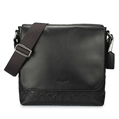 COACH 經典滿版LOGO浮雕壓紋拼接素面皮革翻蓋男用斜背方包-黑色