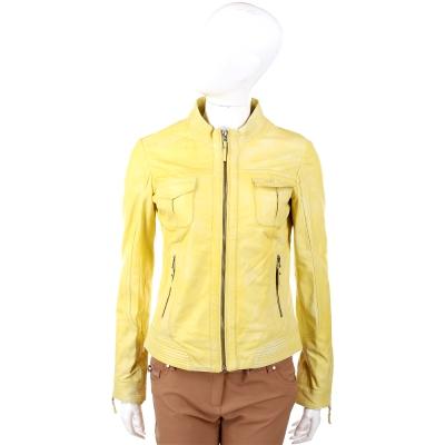 SCERVINO 渲染仿舊檸檬黃口袋設計皮外套