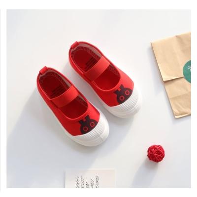 萌萌款卡通四季百搭兒童帆布鞋-紅